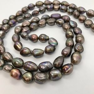 Necklace black baroque freshwater pearls long